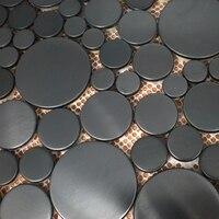Verschiedene größe runde form schwarzen ziehbank edelstahl metall mosaik fliesen für küche backsplash badezimmer wand boden-in Wandaufkleber aus Heim und Garten bei