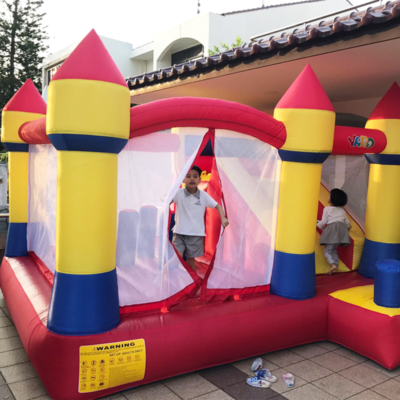YARD Home Used Inflatable Bouncy Castle Inflatable Bouncer with Slide Inflatable Trampoline for Kids with Free Blower twoheartsgirl cool neon animal leopard tiger head backpack for teenager boys girls unisex children school backpack kids bagpack