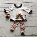 2016 девушки день Благодарения одежда детская Осень наряды хлопок девушки бутиков турции печати ацтеков пант с соответствующими аксессуарами