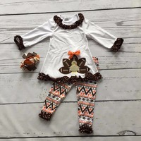 2016 Girls Thanksgiving Day Clothing Baby Fall Outfits Cotton Girls Boutiques Turkey Print Aztec Pant With
