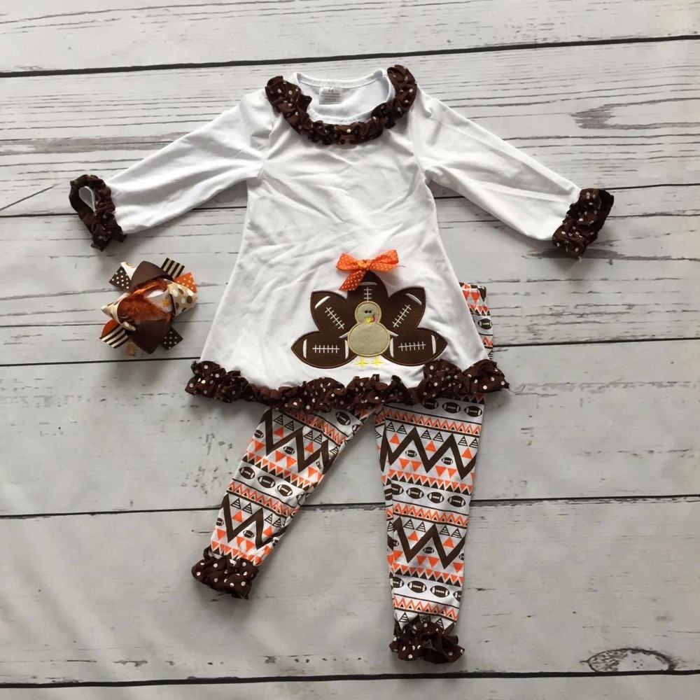 2016 girls Thanksgiving day clothing baby Fall outfits cotton girls boutiques turkey print aztec pant with matching accessories нечегонадеть колье