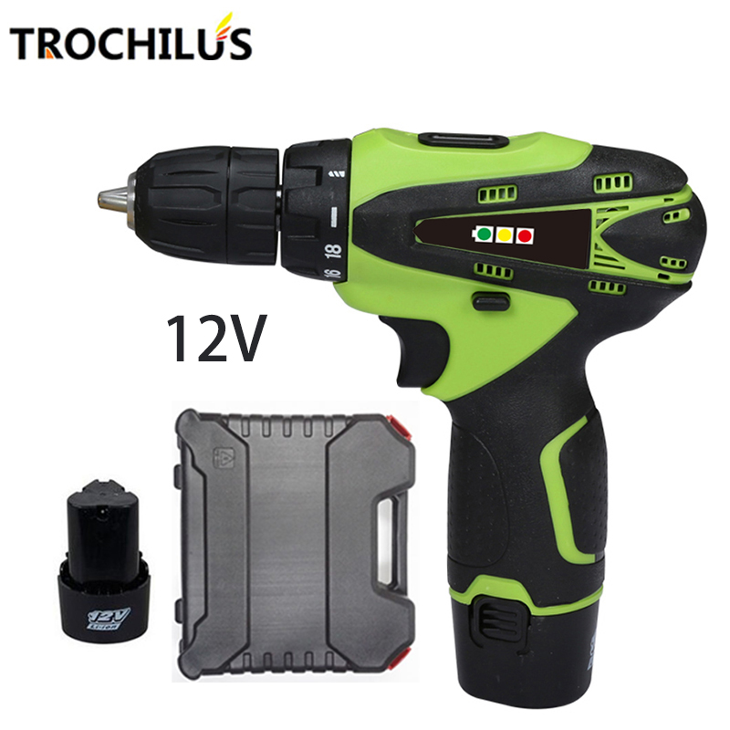 12V cordless Screwdriver Multifunction Power Tool Battery Screwdriver Mini Electric Screwdriver with Lithium Battery * 2 toolbox makita 18v lithium battery series tool cordless impact screwdriver 3000ipm 2300rpm