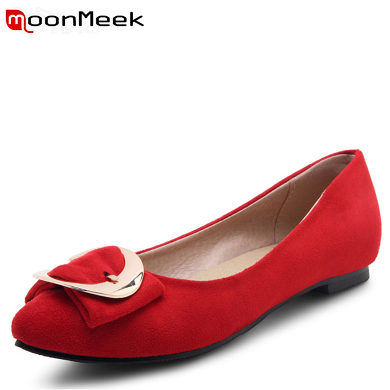 MoonMeek fashion flock pointed toe spring autumn ladies shoes women flats shoes  comfortable loafers big size 34-47 spring autumn solid metal decoration flats shoes fashion women flock pointed toe buckle strap ballet flats size 35 40 k257
