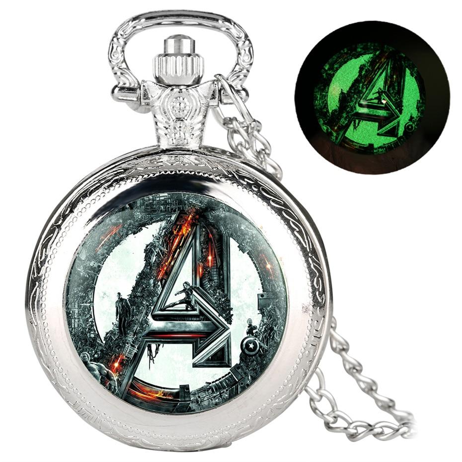 Cool Avengers Theme Quartz Pocket Watch Creative Luminous Full Hunter Pendant Men Women Children Necklace Watch Gifts Reloj 2019