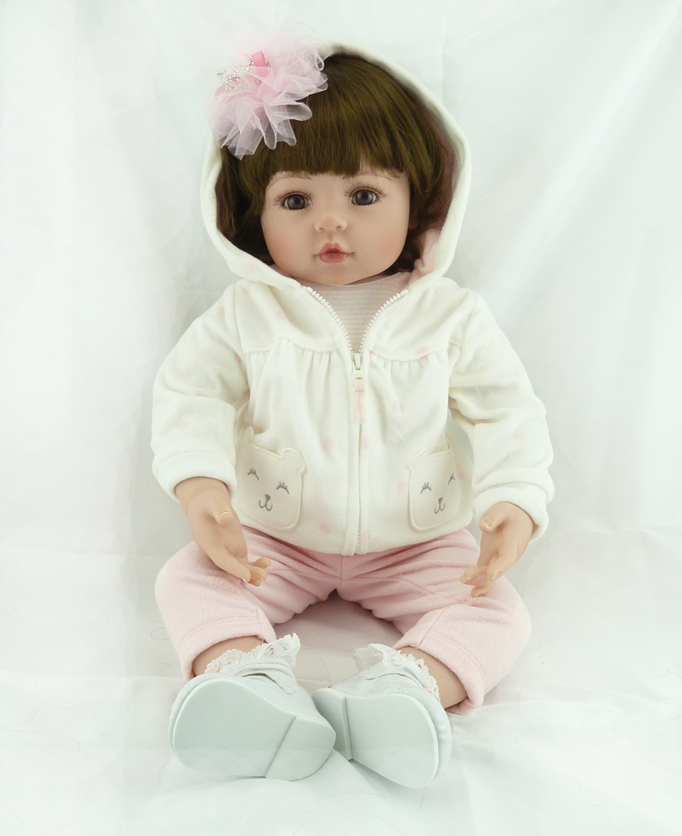 55cm Silicone Reborn Baby font b Doll b font Toys Simulation Vinyl Princess font b Dolls