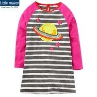 New Girls Dress Baby Birthday Dresses Cartoon Children Dresses Baby Girls Bow Striped Cotton Dress Fall