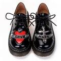 Las nuevas mujeres zapatos de los planos 2016 calle marca moda Punk Oxford zapatos HARAJUKU plataforma Martin Shoes Women Shoes cuero genuino
