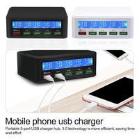 Fast Charge 3.0 5 Port USB Charger Adapter with HD LCD Display for Mobile Phone Tablet Charger Plug USB charger hub