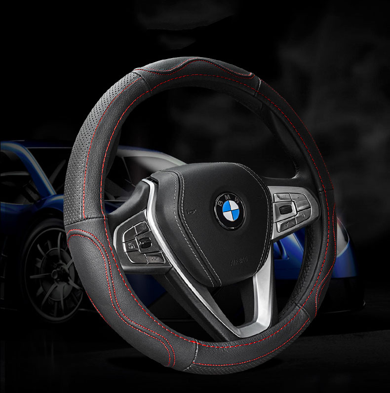 Leather Steering wheel Cover Interior Accessories Steering Wheel Covers For auto volkswagen bmw e46 audi a3 mobile car styling
