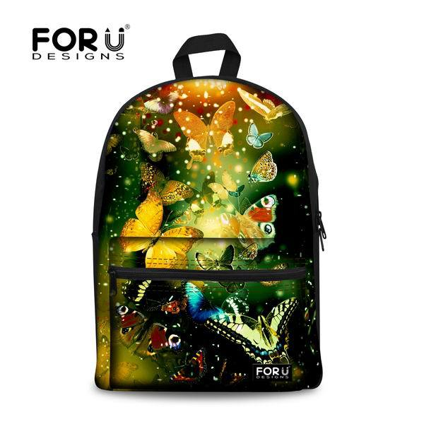 f52f0a7db903 New Colorful Casual Butterfly Print School Bag For Girls Canvas Women  Travel Bookbag Middle Student Schoolbag Mochila Kids