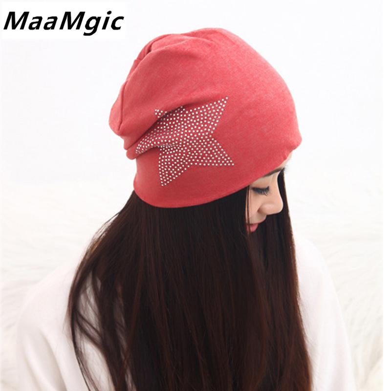 Fashion Fall Winter Knit Baggy Women Hats Bronzing Star New Casual Beanie Cap High Elasticity Female Skullies Cotton Girl Hat hot winter beanie knit crochet ski hat plicate baggy oversized slouch unisex cap