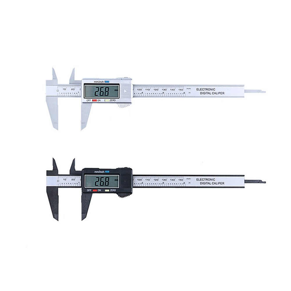Caliper Ruler Carbon Fiber Composites LCD Digital Caliper 0-150mm Gauge Micrometer Measuring Toolwith Inch to MM Conversion