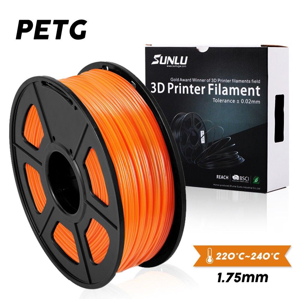 Sunlu petg filamento da impressora 3d 1.75mm 1 kg/2.2lb carretel para o presente de aniversário diy impressão entrega rápida