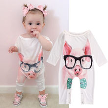 New Infant Baby Kids Girl Clothes Piggy Romper Jumpsuit Play