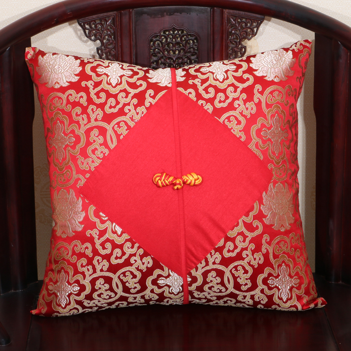 Chinese knot Large Silk Pillow Covers <font><b>50x50</b></font> 60x60 Cushion Covers for Sofa Chair Luxury Christmas Decorations <font><b>Pillowcase</b></font> image