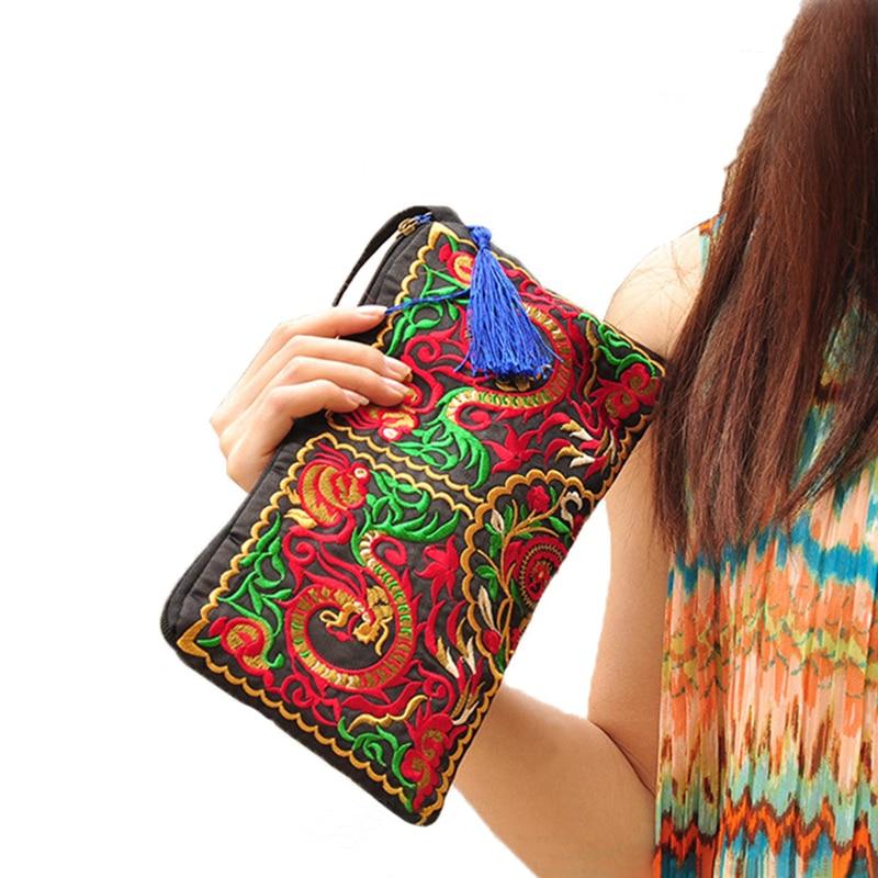 New 2019 Women Embroidered National Coin Handbag Purse Summer Cotton Clutch Phone Tassel Small Floral Bolsa Casual Wallets