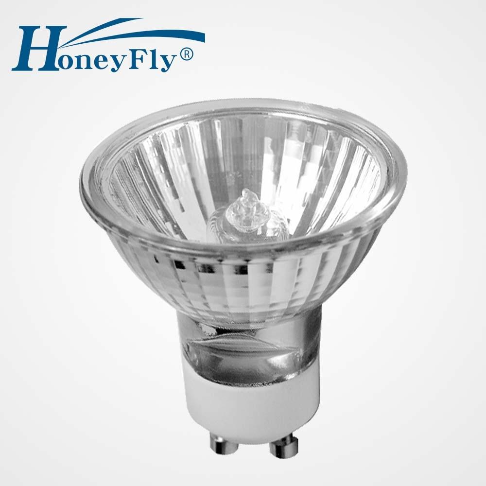 HoneyFly 5pcs Dimmable GU10 Halogen Lamp 50mm 220V 28W/42W Warm White Grade C Halogen Spot Light Indoor Decoration Clear Glass