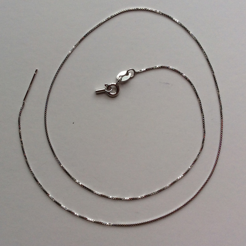 10PCS Lot 925 Sterling Silver Box Chain Necklace For DIY Jewelry Handmake Silver Necklace