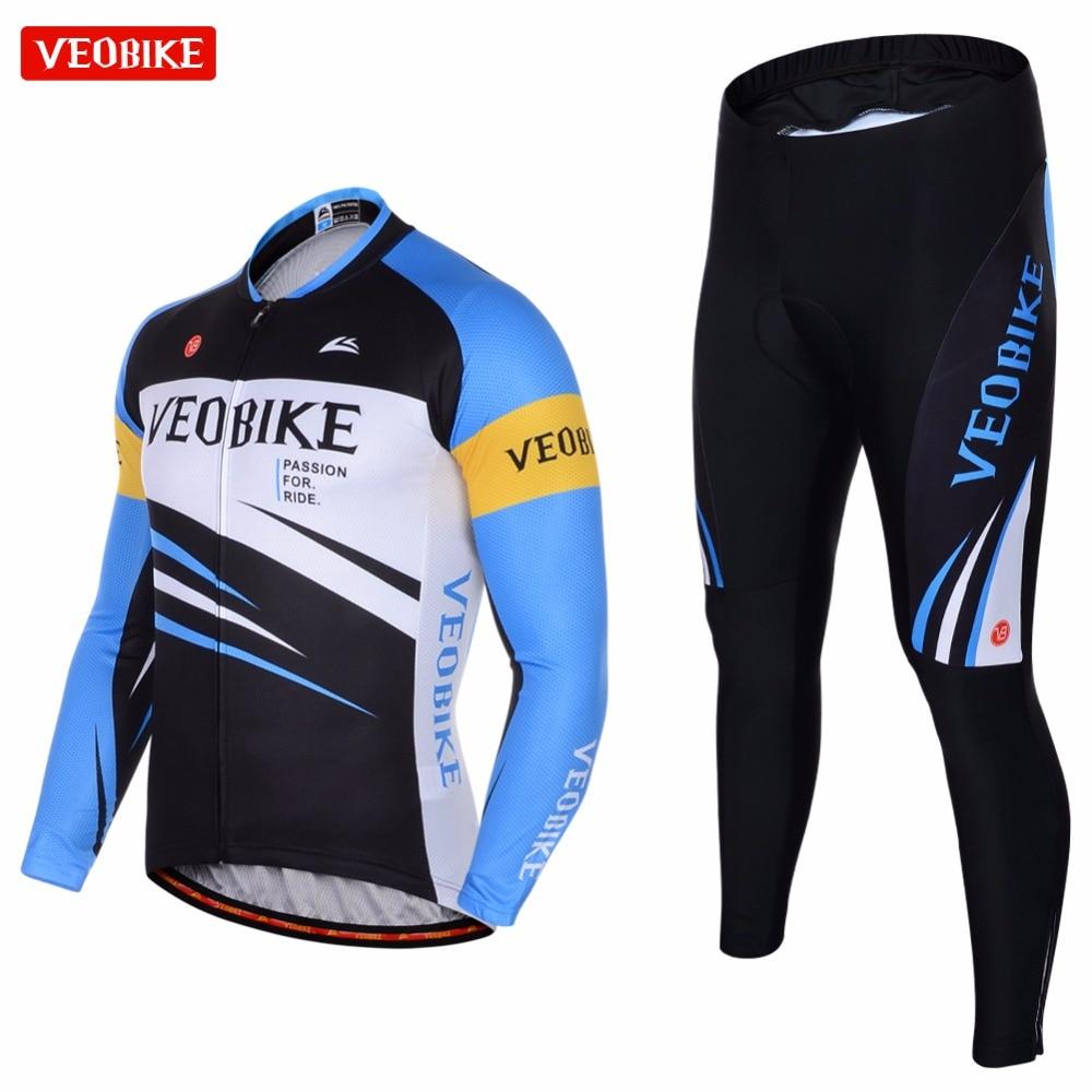 VEOBIKE 2018 Bike Wear Bicycle Pro Cycling Clothing Cycling Long Sleeve Jersey Shirts Mens Autumn Jersey Sets Top Quality