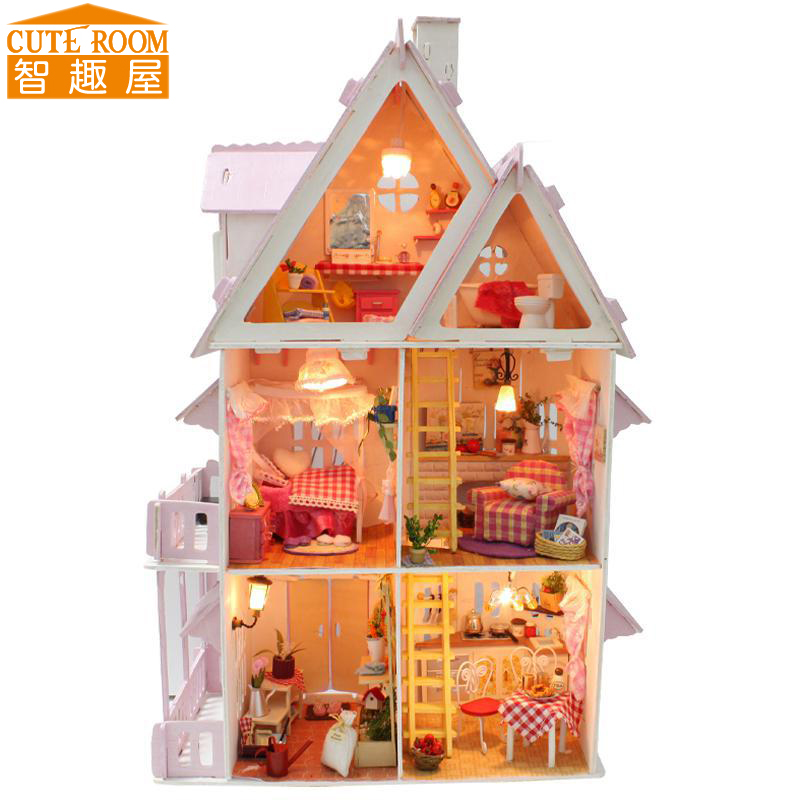 Assemble DIY Doll House Toy Wooden Miniatura Doll Houses Miniature Dollhouse toys With Furniture LED Lights Birthday Gift X001 cutebee pretend play furniture toys wooden dollhouse furniture miniature toy set doll house toys for children kids toy
