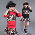 Girl Floral Clothing Set 2017 Top Skirt Suit 2pcs Kids Girls Outfit Set Long Sleeve Sweatshirt + Floral Skirt Set Girls Clothes