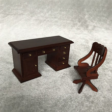 Simulación de muebles de juguete 2019 TOP miniatura Silla de escritorio Vintage 1:12 Mini casa de muñecas lindo Mini muebles Vintage A625