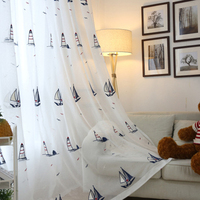Mediterranean Style Kids Linen Sheer Voile Curtains Embroidered Sailing Boat White Tulle Drapes For Children Boys Bedroom P2252