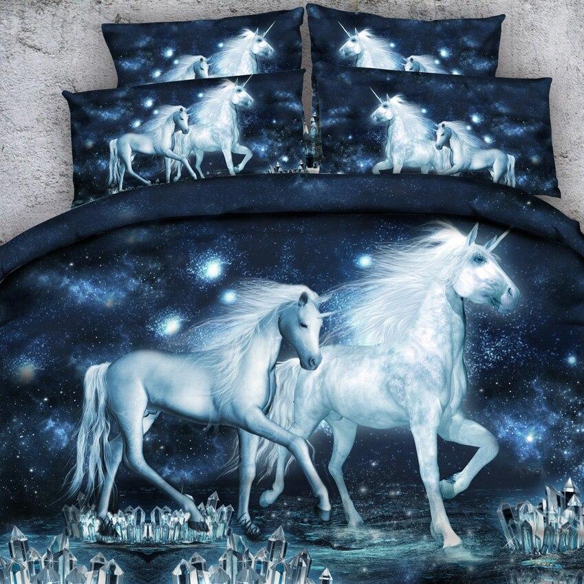 Biancheria reale Sorgente di Marca 6 PZ PER SET Magico Madre e bambino Unicorni Cristallo Mondo 3d set lenzuolo con Copriletto