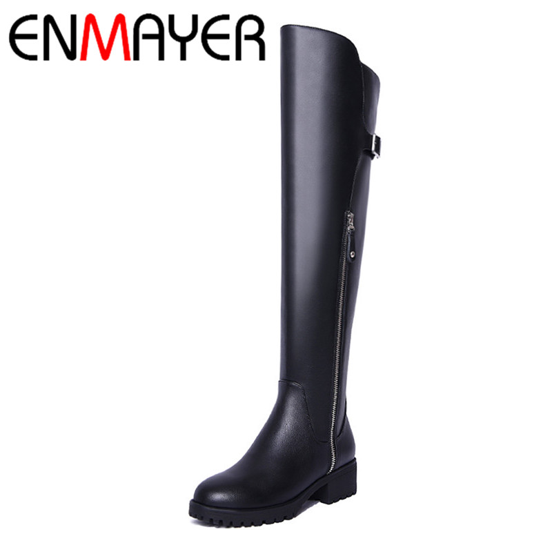 ФОТО ENMAYER Winter Fashion Style Black Long Boots Over-the-Knee Zip Buckle Round Toe Suqare HIgh Heels Solid Lady Shoes Large Size39