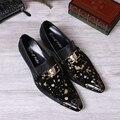Negro Marca de lujo Zapatos de Vestido de Boda Para Los Hombres de Oro Polka Dot Zapatos de Cuero Punta estrecha Genuino Metálico Slip-On Zapatos Humbre