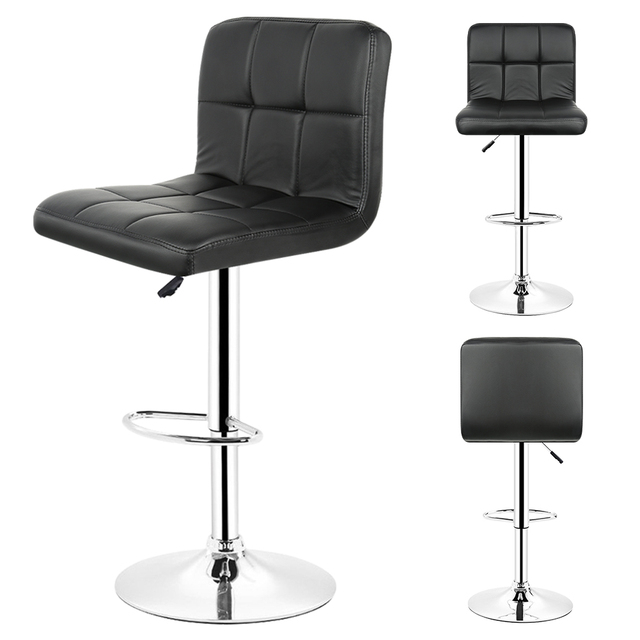 2PCS/set Kitchen Bar Stools Chair Leather Adjustable Swivel Bar Stools  Breakfast Home Bar Black