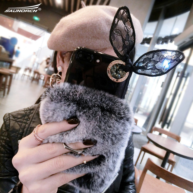 Rabbit ear For iphone 8 mobile phone shell female style bracket For iphone 5  6 7 8 X silicone soft luxurious beaver rabbit hair