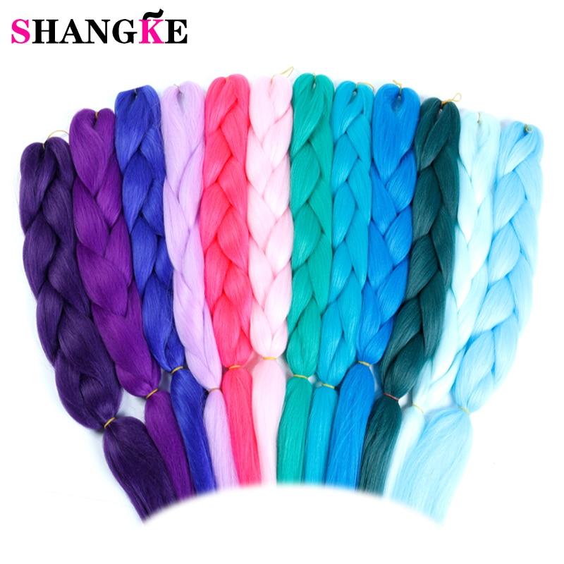 SHANGKE rosa púrpura azul Color rubio sintético trenzas Jumbo trenzado Ombre extensión del pelo blanco de las mujeres