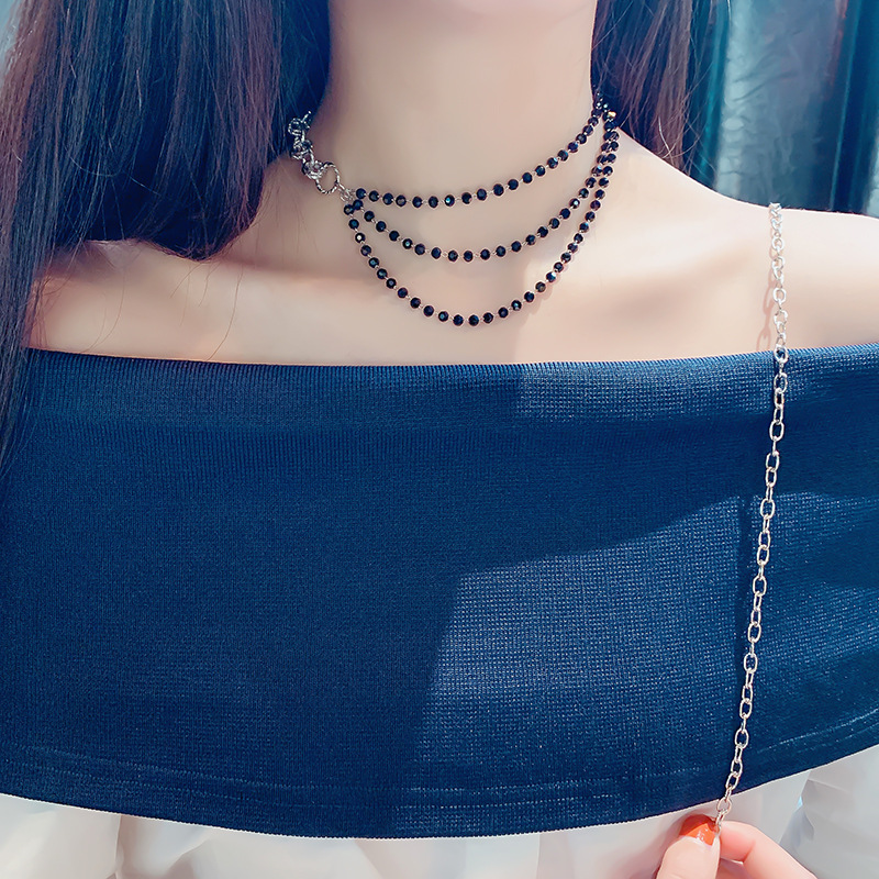 Black Crystal Beads Choker Necklace Multi Layers Women Sexy Statement Fashion Jewelry