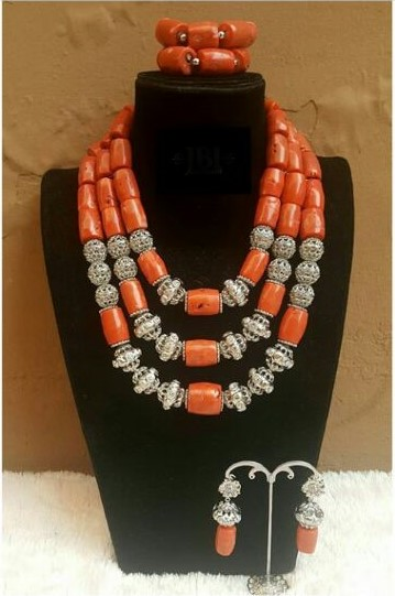 26inches Double Layeres Original Coral Nigerian Wedding Beads Jewelry Set Women Coral Costume Necklace Set CNR892 26inches Double Layeres Original Coral Nigerian Wedding Beads Jewelry Set Women Coral Costume Necklace Set CNR892