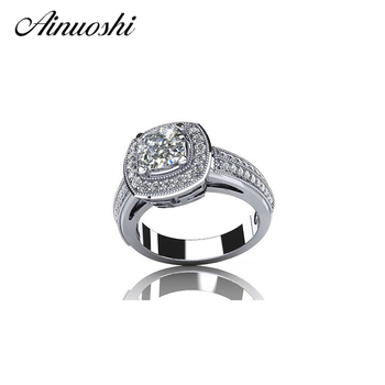 AINOUSHI Classic 100% 925 Sterling Silver Wedding Rings 1 Carat Round Cut Cushion Shaped Halo SONA Band for Women Engagement
