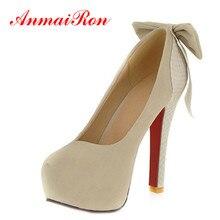 ANMAIRON Mujeres Bombas de Gran Tamaño 34-42 zapatos de Tacón Alto de La Princesa Arco Zapatos de Novia Sexy Calzado Moda Mujeres Ronda Del Dedo Del Pie Bombas de la plataforma