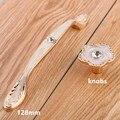 """96mm 128mm modern fashion furniture handle golden amber resin kitchen cabinet dresser door handle rhinestone drawer knob pull 5"""""""