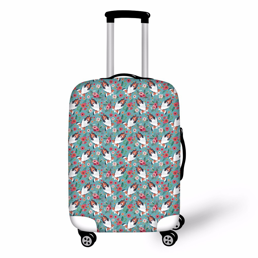 Noisydesigns Rough Collie Dog Pattern Elastic Luggage Protective Cover For 19-32 Inch Trolley Suitcase Protect Dust Bag Case