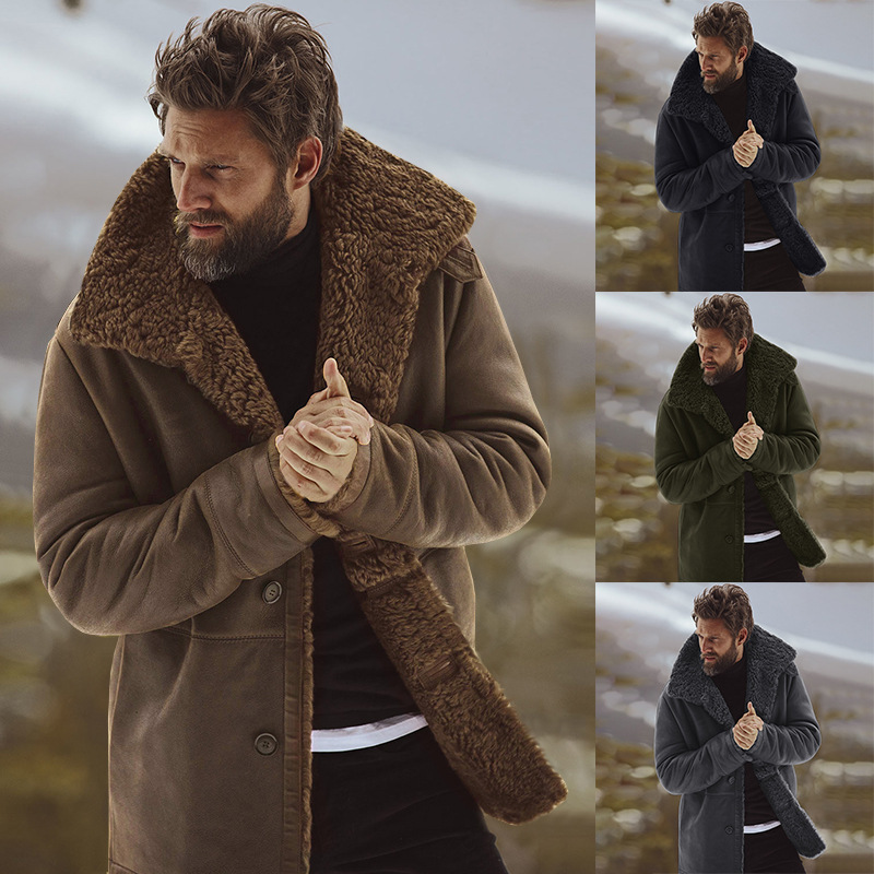 Men Coat Clothing Lined Wool-Blend Male Fleece Plus-Size Winter Fashion-Brand Thick Warm