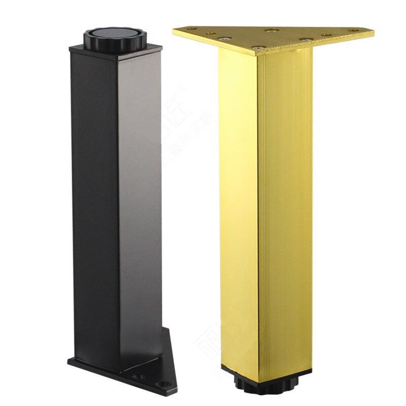4pcs Adjustable Height Square Furniture Legs Metal Aluminum Table Legs Gold Cabinet Sofa Foot Hardware Rubber Feet
