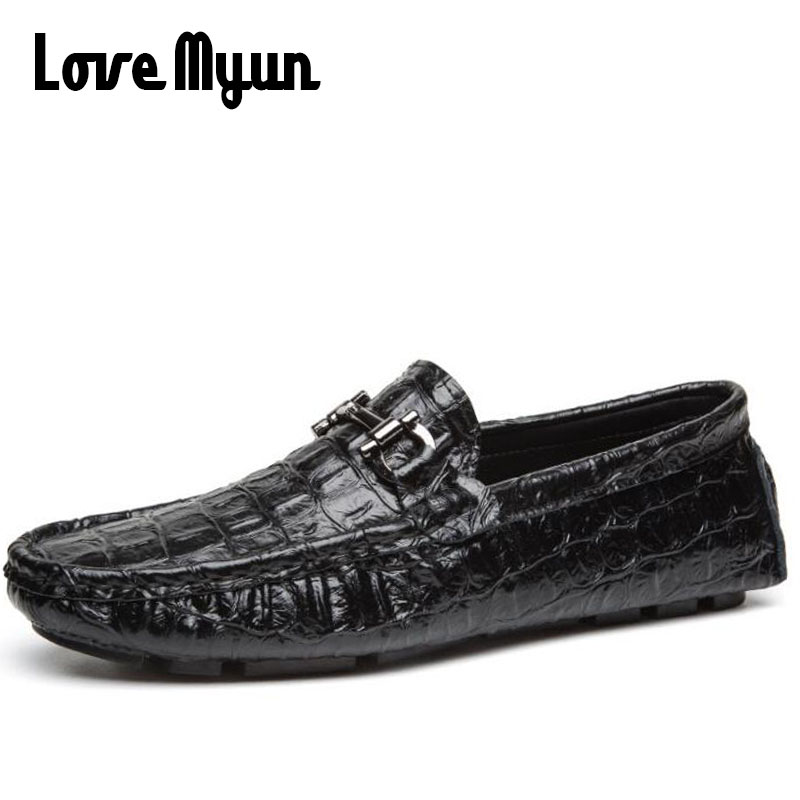 Luxury Brand Men Loafers Crocodile Skin Genuine Leather Men Casual  Driving Shoes Soft Comfortable Dress Shoes For Male  KK-37 npezkgc brand best quality genuine leather men flats casual shoes soft loafers comfortable driving shoes men breathable shoes