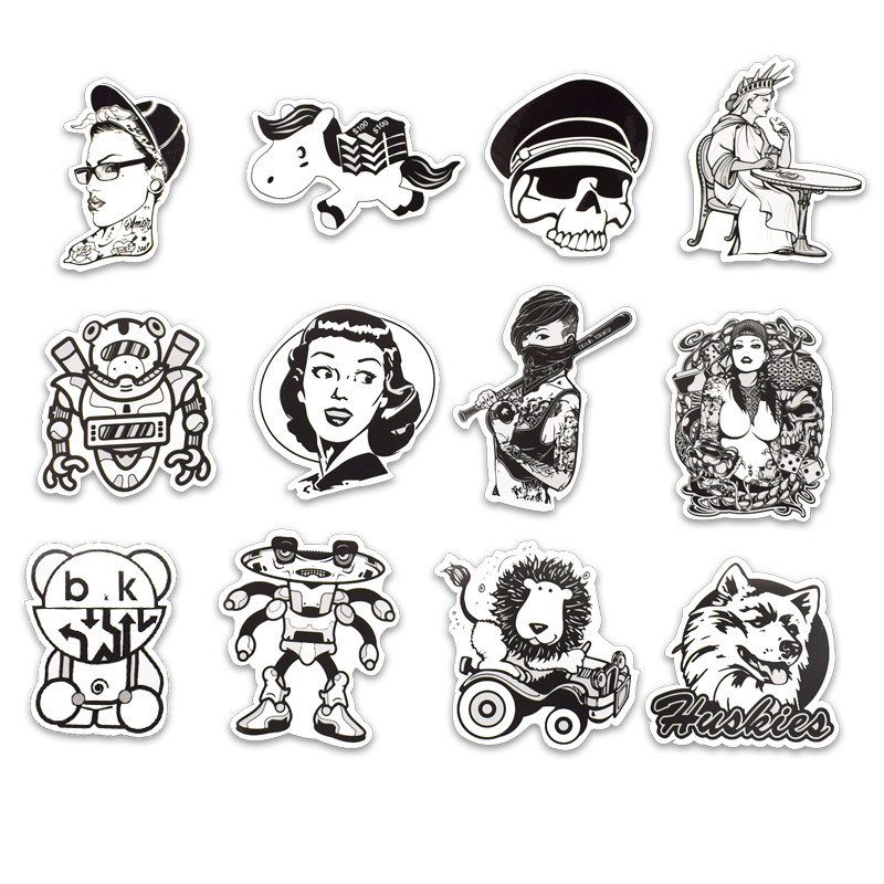 Image 3 - 50PCS Black and White Punk Laptop Stickers Graffiti Vinyl Computer Sticker for MacBook Skateboard Suitcase Bike Helmet-in Laptop Skins from Computer & Office