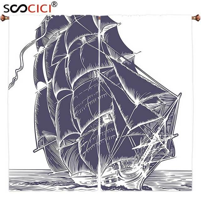 gordijnen behandelingen 2 panelen nautische oude zeil boot in de oceaan op witte achtergrond piraat