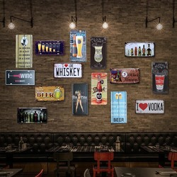 BEER GLASS CAR PLATE Vintage Tin Sign Bar pub home Wall Decor Retro Metal Art Poster