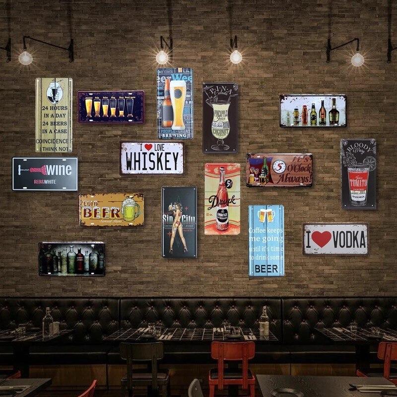 Cartel de Metal Retro para decoración de pared para el hogar, Bar, pub, letrero de lata, placa de coche de vidrio para cerveza