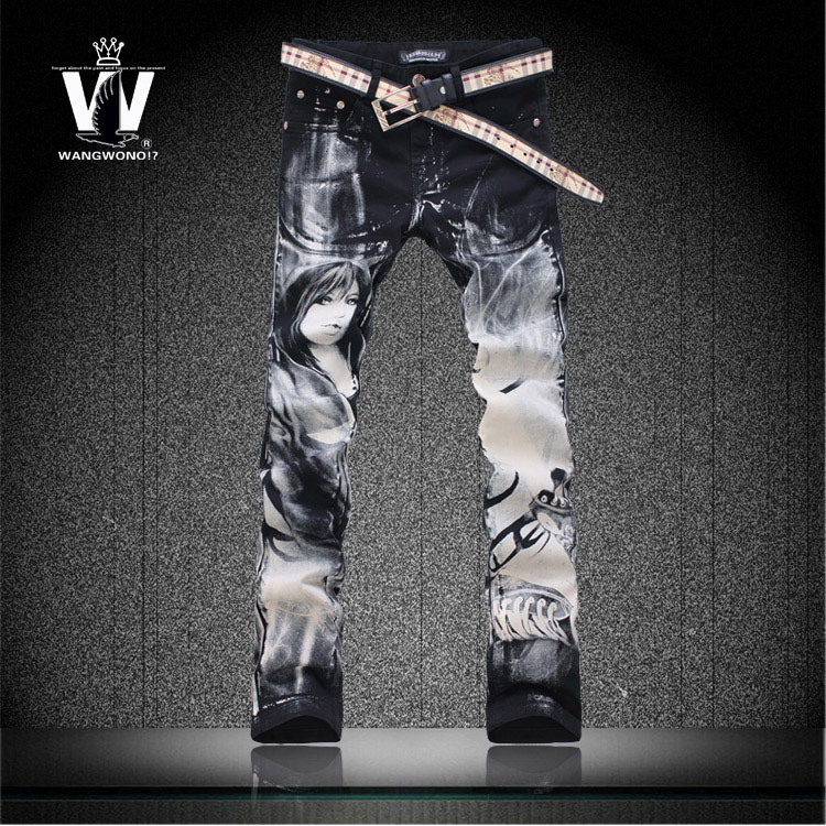ФОТО Free shipping black Flower pants jeans mens trousers slim colored drawing 3D beautiful girl outerwear imported clothing man