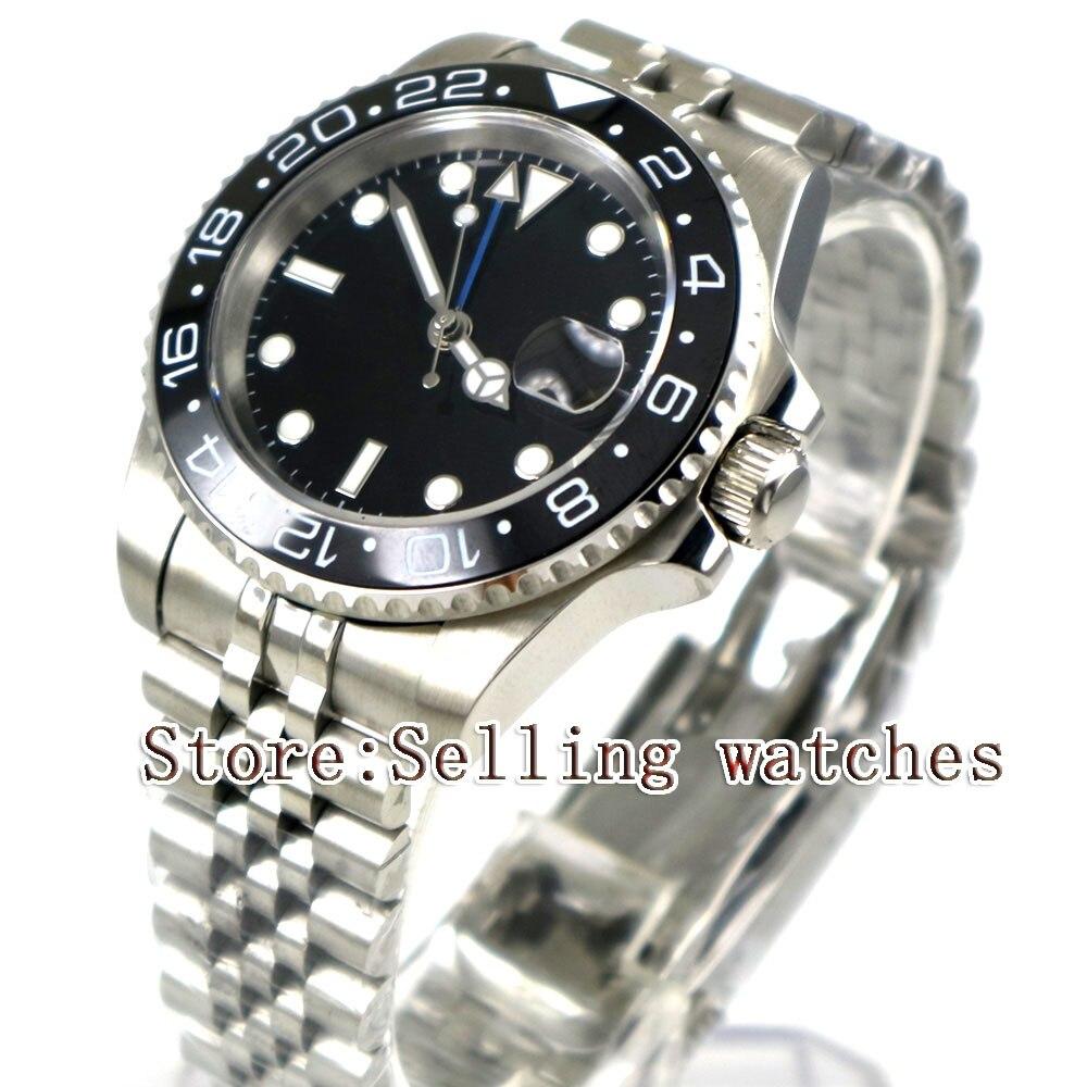 40mm Parnis czarny sterylne Dial czarny ceramiczny Bezel jubileusz pasek w stylu niebieski GMT data oknie automatyczny męski zegarek w Zegarki mechaniczne od Zegarki na  Grupa 1