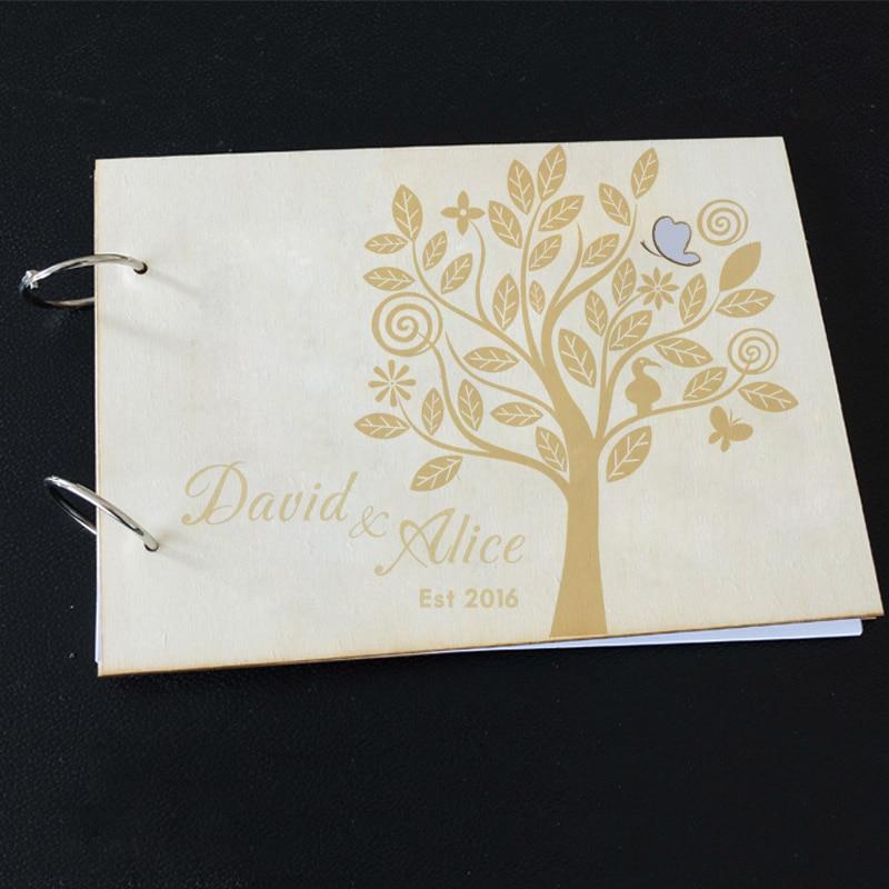 Álbum de fotos de boda alternativa libro de invitados de madera ...
