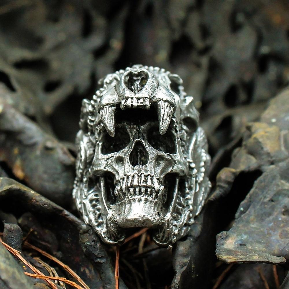 Cool Mens Boys 316L Stainless Steel Biker Rings Vintage Indian Jaguar Warrior Skull Punk Jewelry Gift for Him